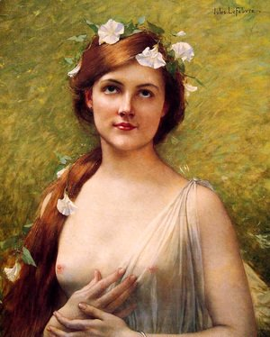 Jules Joseph Lefebvre - Young Woman With Morning Glories In Her Hair